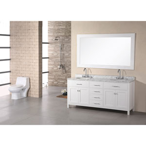 London 72 Inch Pearl White Double Sink Vanity Set