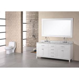 London 72 Inch Pearl White Double Sink Vanity Set