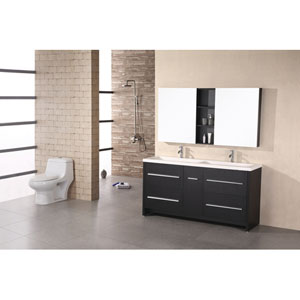 Perfecta Dark Espresso 63 Inch Double Sink Vanity Set