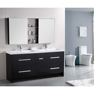 Perfecta Dark Espresso 72 Inch Double Sink Vanity Set