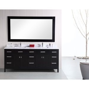 London Dark Espresso 78 Inch Modern Double Bathroom Vanity