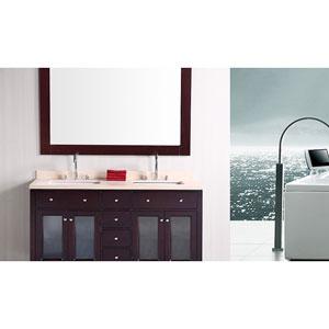Venetian Dark Espresso 60 Inch Double Sink Bathroom Vanity