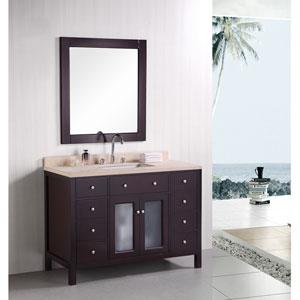 Venetian Dark Espresso 48 Inch Single Sink Bathroom Vanity with Beige natural marble countertop