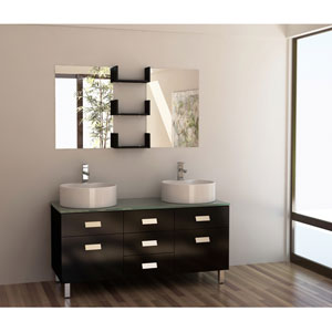 Wellington Dark Espresso 55 Inch Double Sink Vanity Set