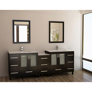 Galatian Dark Espresso 88 Inch Double Sink Vanity Set