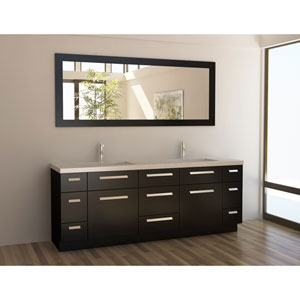 Moscony Dark Espresso 84 Inch Double Sink Vanity Set