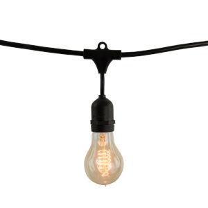 Black Nostalgic Spiral 25W A19 Incandescent Standard Base Amber 10 Pcs String Light