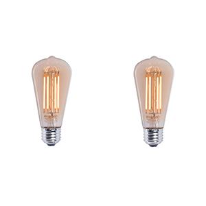 2 Pack 40W Equivalent ST18 E26 2200K Dimmable LED Filament Vintage Amber Light Bulb