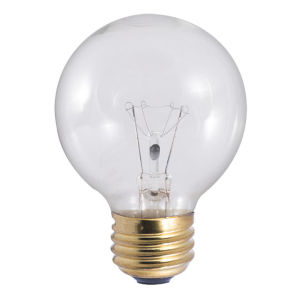 Clear G19, E26 2700K 25W Incandescent Bulb, Pack of 25