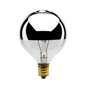 Half Chrome G16.5, E12 2700K 25W Incandescent Bulb, Pack of 25