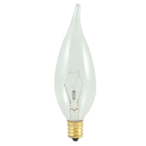 Clear CA10, E12 2700K 25W 220V Incandescent Bulb, Pack of 25