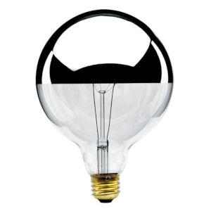 Half Chrome Incandescent G40 Standard Base Warm White 950 Lumens Light Bulb
