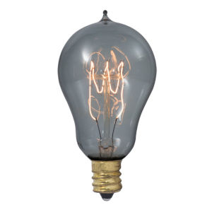 Smoke A15, E12 1800K 25W Incandescent Bulb, Pack of Four