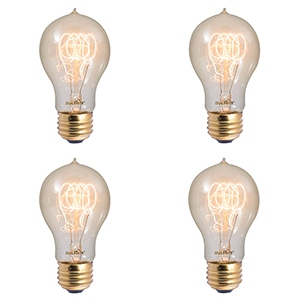 4PK 40W A19 E26 2200K Dimmable Incandescent Vintage Amber Light Bulb