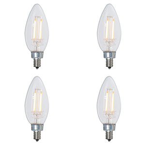 4PK 40W Equivalent B11 E12 2700K Dimmable LED Filament Warm White Clear Light Bulb