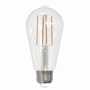 Clear ST18, E26 3000K 7W LED Bulb, Pack of Two