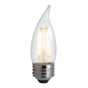 Clear LED Filament CA10 40 Watt Equivalent Standard Base Warm White 350 Lumens Light Bulb