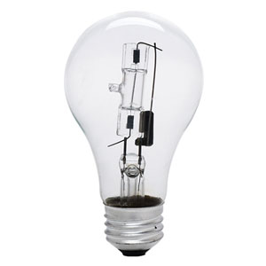 53W A19 E26 Halogen Bulb, Pack of 2