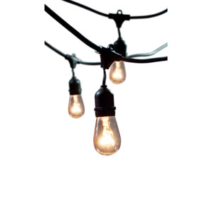 Black 48-Foot 15-Light Outdoor String Light with Incandescent 11S14 Bulbs