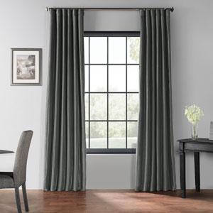 Arrowhead Grey 96 x 50-Inch Blackout Vintage Textured Faux Dupioni Silk Curtain Single Panel