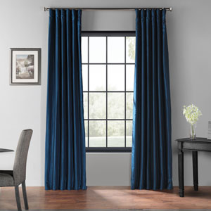 Captain Blue 96 x 50-Inch Blackout Vintage Textured Faux Dupioni Silk Curtain Single Panel