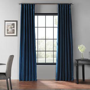 Captain Blue 120 x 50-Inch Blackout Vintage Textured Faux Dupioni Silk Curtain Single Panel