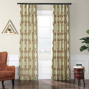 Sage and Amber 84 x 50-Inch Royal Gate Flocked Faux Silk Curtain Single Panel