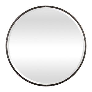 Benedo Rustic Black and Gold Round Mirror