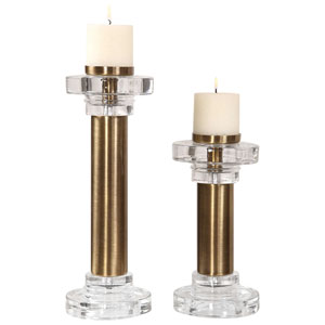 Leslie Brushed Brass Candleholder, Set of 2