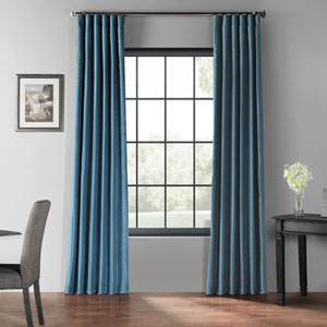 Nassau Blue 84 x 50-Inch Blackout Vintage Textured Faux Silk Curtain Single Panel