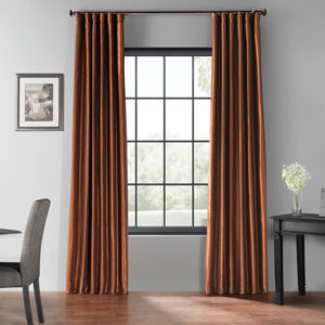 Copper Kettle 84 x 50-Inch Blackout Vintage Textured Faux Silk Curtain Single Panel