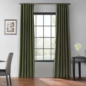 Pine Green 96 x 50-Inch Blackout Vintage Textured Faux Silk Curtain Single Panel