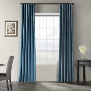 Nassau Blue 84 x 50-Inch Vintage Textured Faux Dupioni Silk Curtain Single Panel