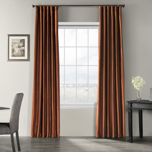 Copper Kettle 120 x 50-Inch Vintage Textured Faux Dupioni Silk Curtain Single Panel