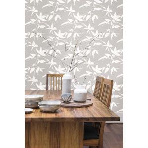 Ronald Redding Tea Garden Gray and White Persimmon Leaf Wallpaper