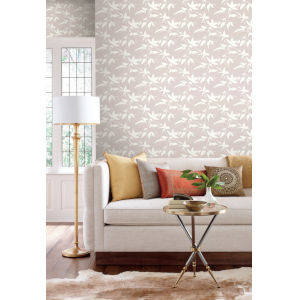 Ronald Redding Tea Garden Beige Persimmon Leaf Wallpaper