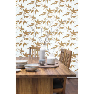 Ronald Redding Tea Garden Gold and White Persimmon Leaf Wallpaper