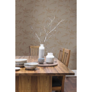 Ronald Redding Tea Garden Gold and Taupe Persimmon Leaf Wallpaper