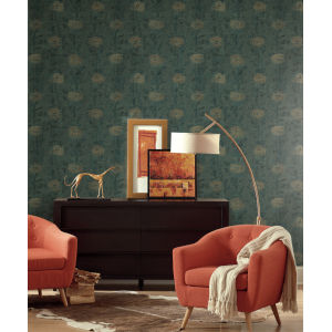 Ronald Redding Tea Garden Teal and Gold French Marigold Wallpaper
