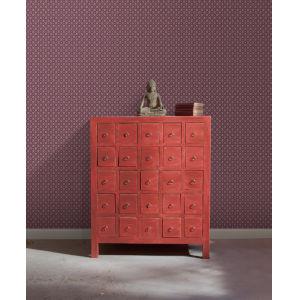 Ronald Redding Tea Garden Purple Fretwork Wallpaper