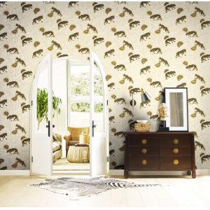 Ronald Redding Tea Garden White, Black and Gold Tibetan Tigers Wallpaper