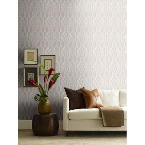 Ronald Redding Tea Garden Beige and White Oriental Lattice Wallpaper