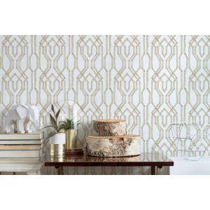 Ronald Redding Tea Garden White and Gold Oriental Lattice Wallpaper