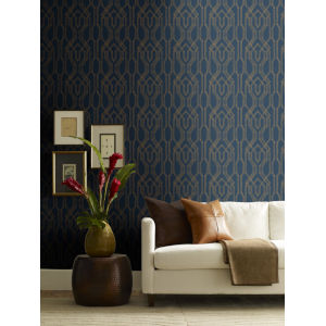 Ronald Redding Tea Garden Blue and Gold Oriental Lattice Wallpaper