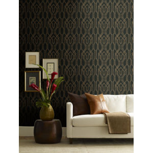 Ronald Redding Tea Garden Black and Gold Oriental Lattice Wallpaper