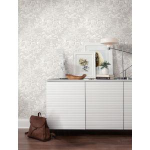 Ronald Redding Tea Garden Gray and White Chinoiserie Wallpaper