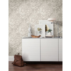 Ronald Redding Tea Garden Beige Chinoiserie Wallpaper
