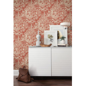 Ronald Redding Tea Garden Red and Orange Chinoiserie Wallpaper