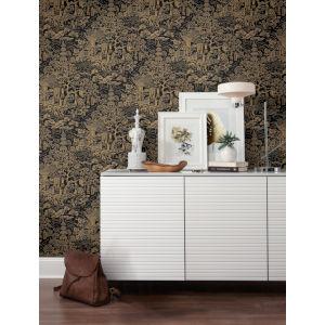 Ronald Redding Tea Garden Black and Gold Chinoiserie Wallpaper