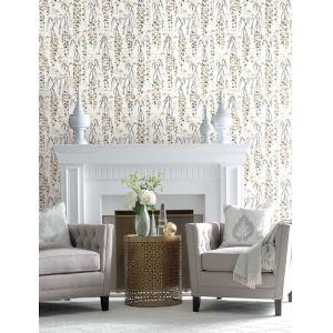 Ronald Redding Tea Garden White, Black and Gold Willow Branches Wallpaper